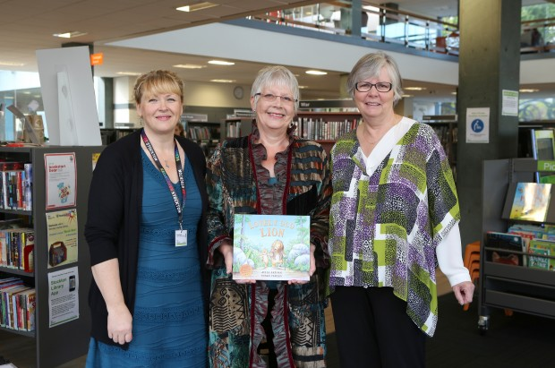 Karen Morris, Julia Jarman and Councillor Wilburn at the launch of Lovely Old Lion.