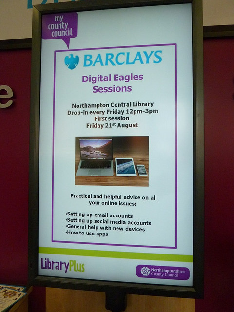 Advertising Barclays Digital Eagles sessions in Northampton library