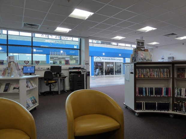 Cruddas Park library, looking out towards Newcastle college