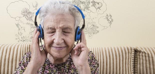 Lady enjoying an audio book
