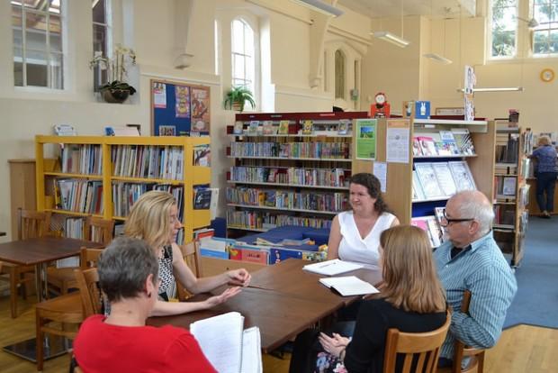 Members of the Taskforce meeting the team in Harbury community library, Warwickshire.