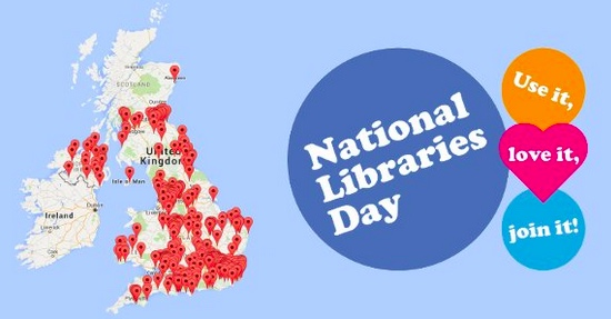 National Libraries Day logo and map of events