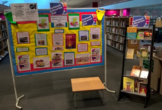 Libraries Day publicity in Hackney library.