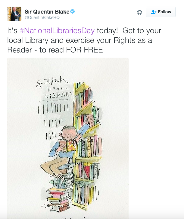 Illustration from Quentin Blake for National Libraries Day