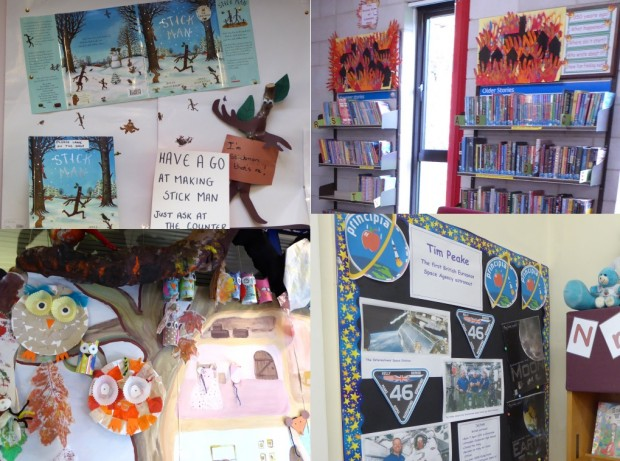 Vibrant displays in children's sections of community libraries. Clockwise from top left: Make a stick man in Frecheville, remembering the anniversary of the Great Fire of London in Minchinhampton, illustrating Tim Peake's achievement in Lechlade, and a woodland scene in Farnham Common.
