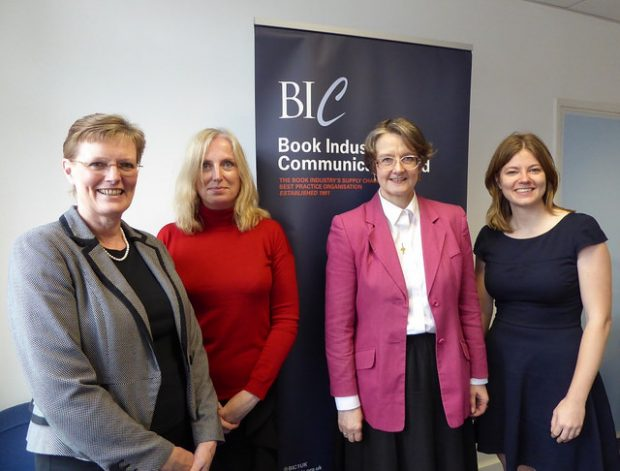 Sue (left) meeting representatives from Book Industry Communications. Next to her are Karina Luke (Executive Director, BIC) and Catherine Cook (Chair of the BIC libraries committee). The Taskforce's Charlotte Lane is on the right. Photo credit: Julia Chandler/Libraries Taskforce