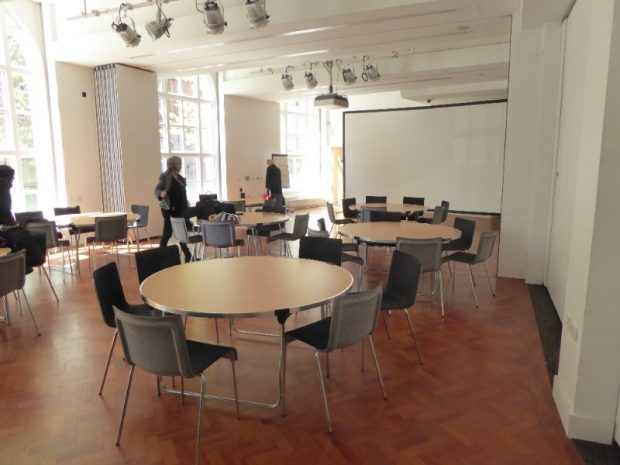Preparing the room for the workshop in Manchester central library. Photo credit: Julia Chandler/Libraries Taskforce