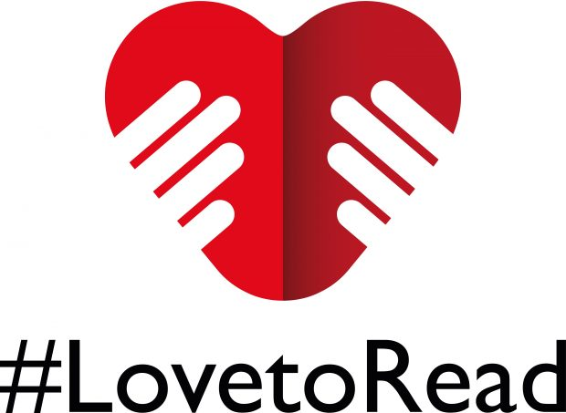 LovetoRead logo: hands holding a heart, folded as though it were a book