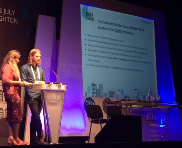 Myself and my colleague Luke Wilson presenting some of the project's findings at the CILIP annual conference. Photo credit: Tinder Foundation