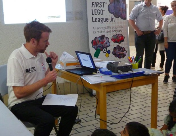 Delivering a First LEGO league session. Photo credit: xx