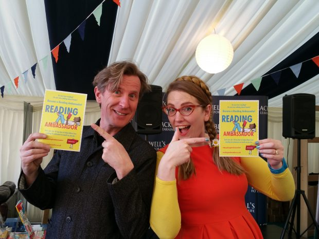 Author Philip Reeve and Illustrator Sarah McIntyre, passionate supporters of the campaign. Photo credit: Seonaid MacLeod/Publishers Association