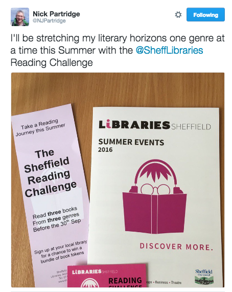 Tweet from @NJPartridge about the Sheffield Adult Reading Challenge