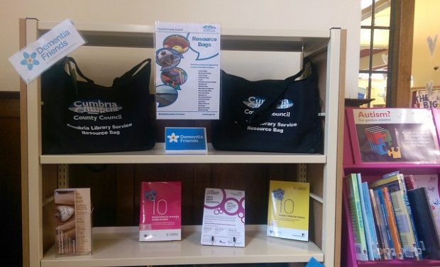 Resource bags produced by Cumbria libraries to support their dementia friends work. Photo credit: Kathy Settle/Libraries Taskforce