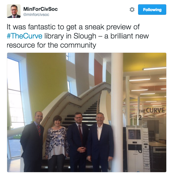 From left: Andy Howell (Slough Urban Renewal), Claire xxx, Rob Wilson MP, and Joe xxx in the Curve. Photo credit: Lizzie Jacobs/DCMS