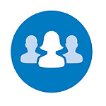 Graphic of 3 silhouettes of heads and shoulders. The Communities icon for Libraries Deliver.