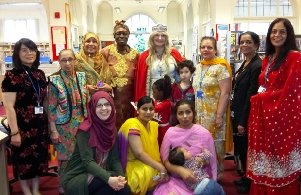 A variety of local dress in Foleshill library: celebrating diversity. Photo credit: Coventry libraries.