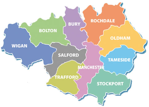 Map of the authorities included in Greater Manchester