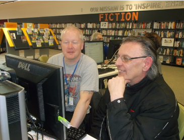 Ian with ReCom buddy Stephen, in Chelmsley Wood library. Photo credit: ReCom