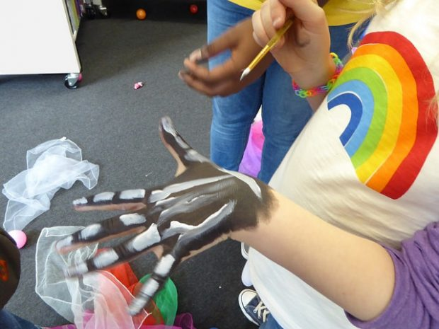 Body painting in Brixton library. Photo credit: Julia Chandler/Libraries Taskforce