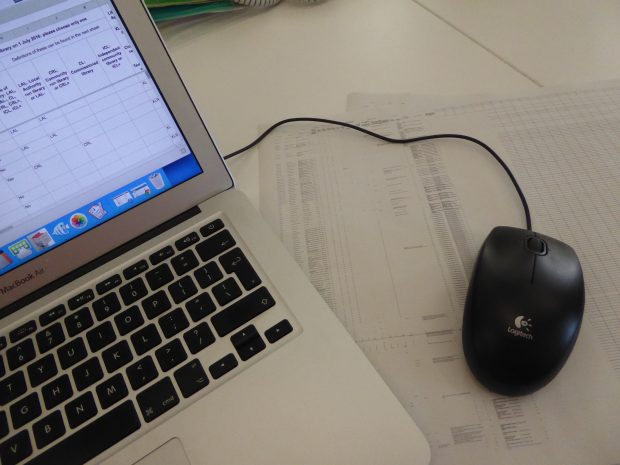 Working on the data set. Photo credit: Julia Chandler/Libraries Taskforce