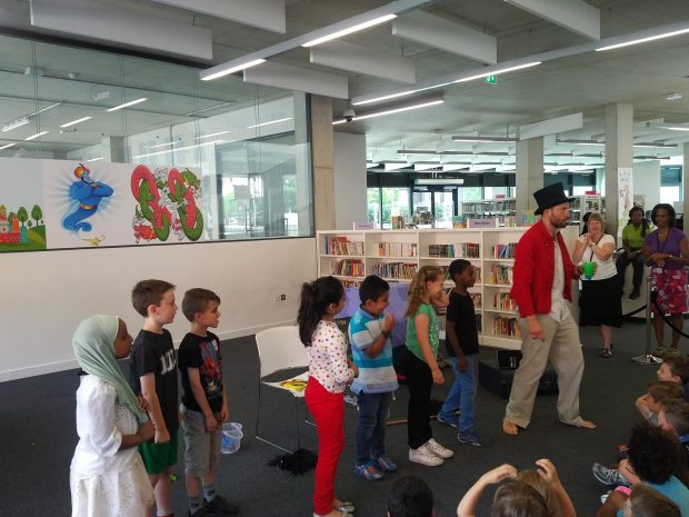 Children taking part in the performance of The Twits at the Library at Willesden Green. Photo credit: Zoe English/Brent Culture Service