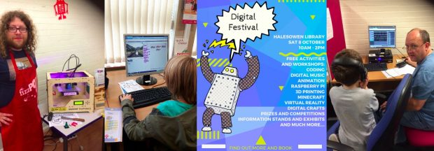 L-R: 3D Printing with FizzPop, Scratch Coding, Event poster, Digital Music Making. All images credit: Dudley libraries