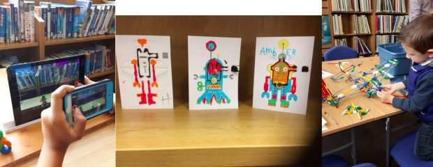 L-R: Stop motion animation, Electric Paint Robot Cards, K-Nex. All images credit: Dudley libraries