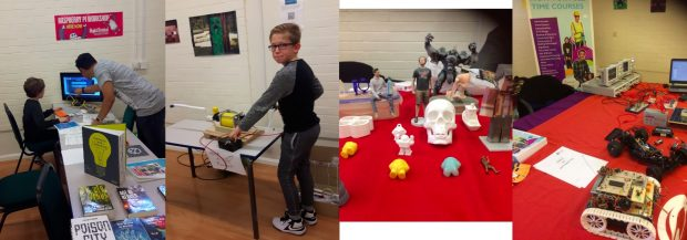L-R: Raspberry Pi workshop, DIY rocket launcher, 3D printed items, Electronics from Dudley College. All images credit: Dudley libraries