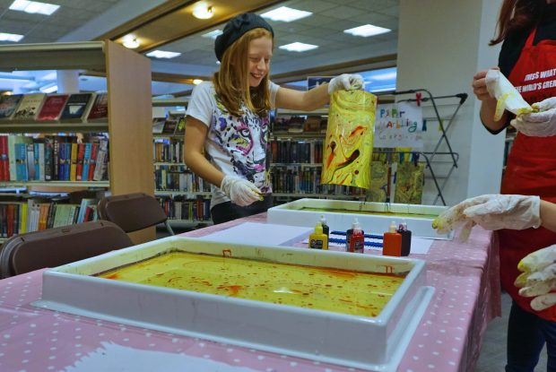 Paper marbling in the library. Photo credit: Peterborough Presents