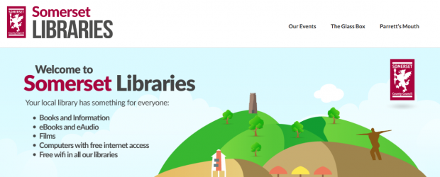 screenshot of Somerset libraries website showing a graphic with a hill