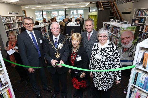 Yarm library re-opens. From left to right: Andrew Haigh (Chief Executive of Newcastle Building Society), Ken Dixon (Mayor of Stockton) and his wife Linda Dixon (Mayoress of Stockton), Reuben Kench, Director of Culture, Leisure and Events, and Cllr Norma Wilburn, Executive Member for Culture, Leisure and Events.