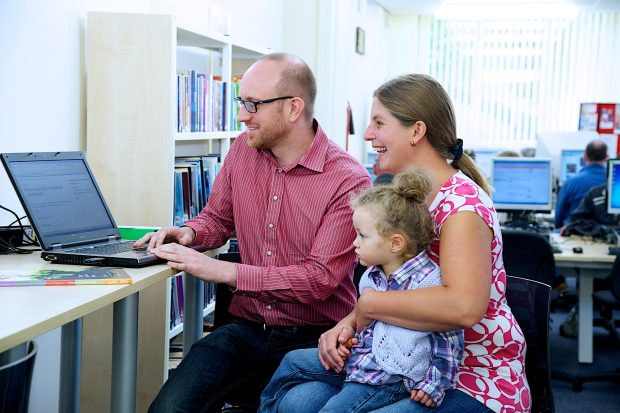 Family surfing the Internet together at South Elmsall Library. Photo copyright: Jill Jennings for Wakefield libraries