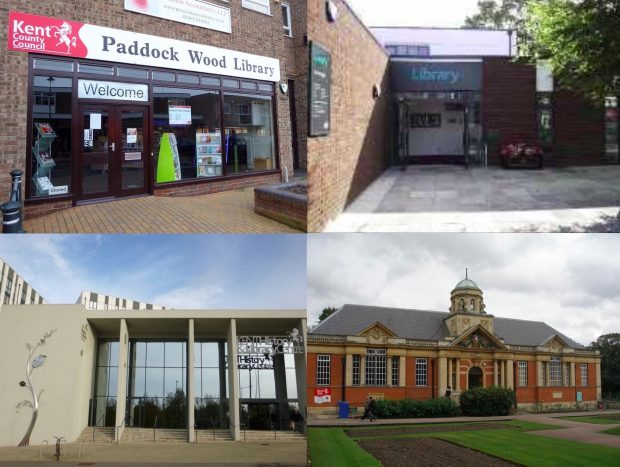 A selection of Kent libraries, clockwise from top left: Paddock Wood, Broadstairs, Dartford, and the Kent History and Library Centre, Maidstone. Photo credits: Julia Chandler/Libraries Taskforce and Kent Libraries