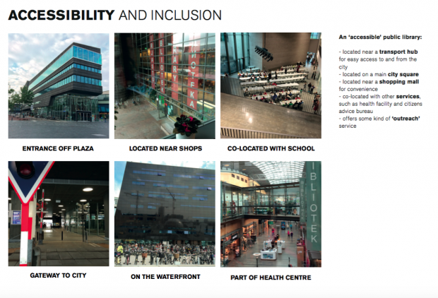 Photos of libraries, illustrating accessibility