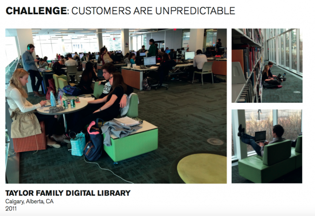 A selection of photos of a library, showing people studying in different ways