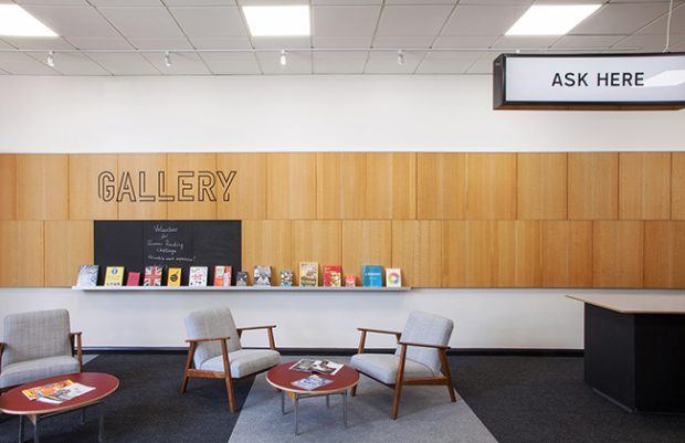 The new Library at Stanmore. A modern gallery space to welcome visitors and exhibit local art. Photo credit: Max Creasy.