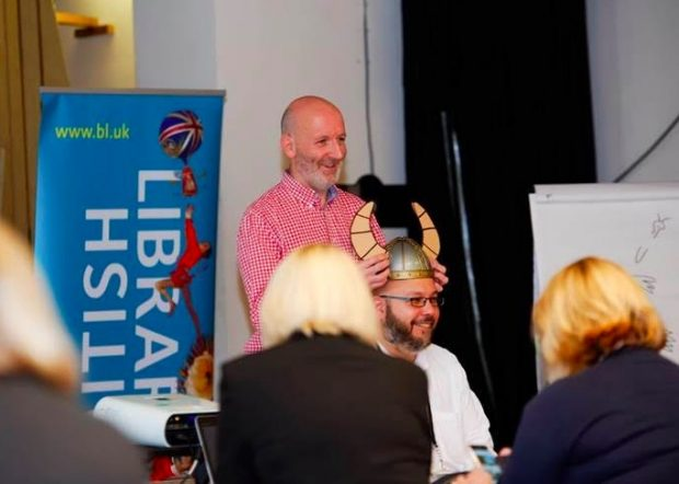 Nick Sharratt and storytelling prop - a viking helmet. Photo credit: Strong Island Media