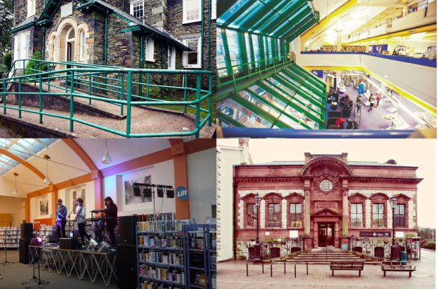 Some of Cumbria's libraries. clockwise from top left: Windermere, inside Carlisle, Kendal, and Get it Loud in libraries gig in Kendal library. Photo credits: Cumbria County Council