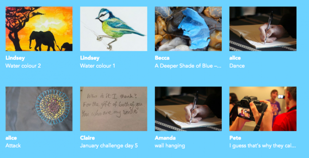 A selection of the projects contributed so far, including painting, creative writing, poetry, photography and craft. From the 64 million artists website
