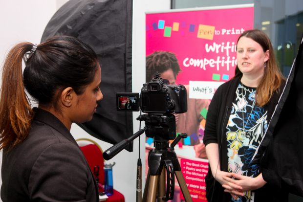 Claire Buss being filmed for the Pen to Print YouTube Channel. Photo credit: Express Photos