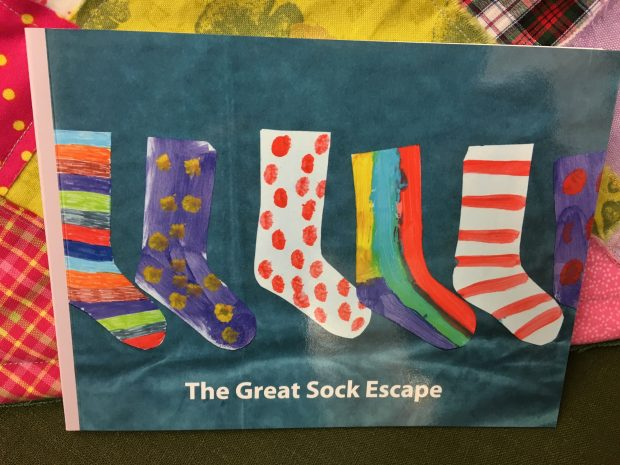 Sock book, created by Longrigg House Day Care Centre. Photo credit: Mari Pearce/Cumbria Libraries