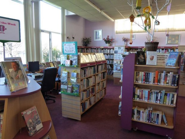 Photo of inside a library