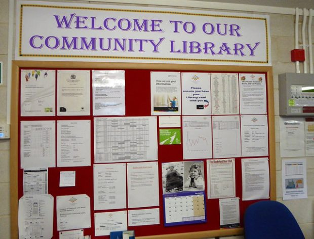 Noticeboard in Minchinhampton community library. Photo credit: Julia Chandler/Libraries Taskforce