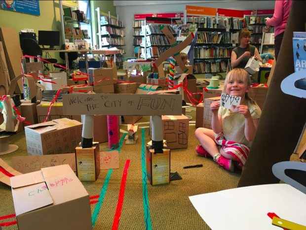 A cardboard city in Dursley library. Photo credit: Sarah Warden