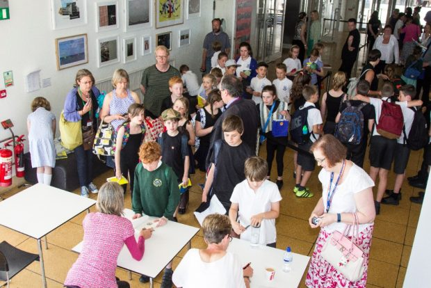 Children queueing to meet their favourite authors. Photo credit: East Sussex libraries