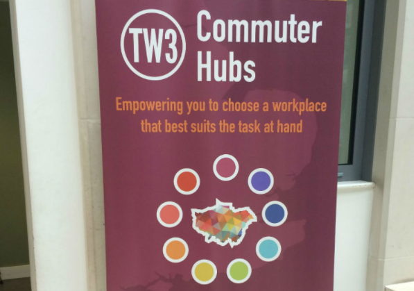 Banner promoting commuter hubs. Photo credit: Paul Cox/Ministry of Justice