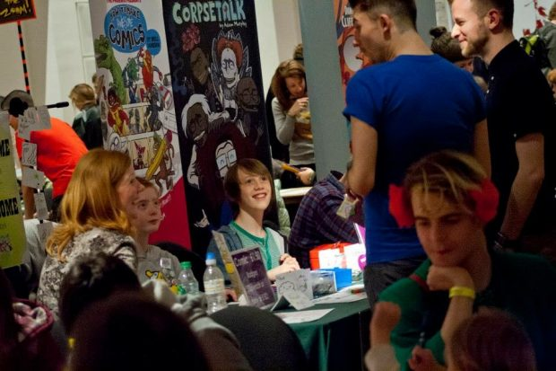 Skipton Library's Team Ketchup running a stall at Thought Bubble Festival Leeds. Photo credit: Skipton library