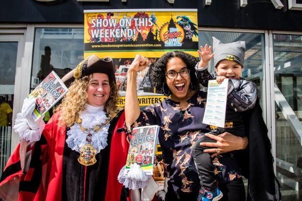 Councillors O'Halloran and Comer-Schwartz attend London Super Comic Con. Photo credit: Islington libraries