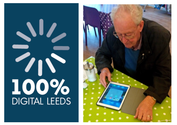 2 photos - the 100% Digital Leeds logo, and a man using a tablet computer