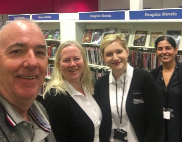 Kim Bromley Derry and colleagues in Stratford library.